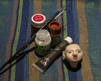 голова куклы после росписи